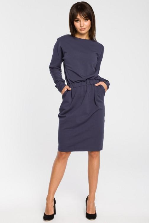 CM3443 Sukienka z gumą w pasie i długimi rękawami - niebieska