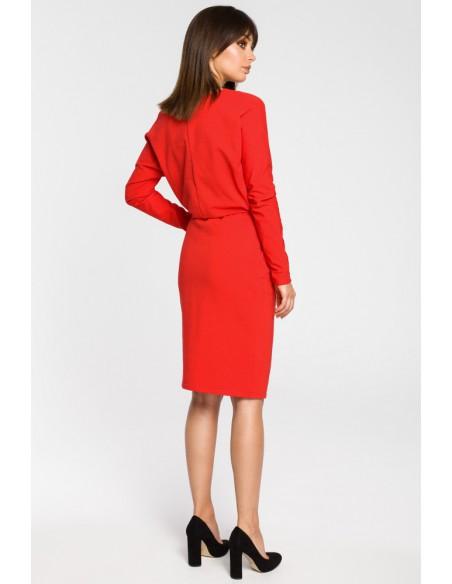 Sukienka z gumą w pasie i długimi rękawami - czerwona