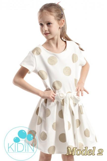 Dziewczęca sukienka w kontrafałdy - model 2