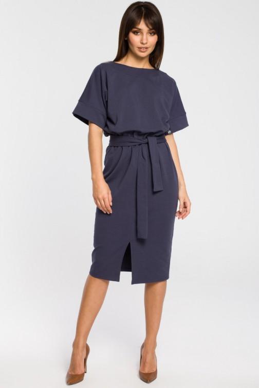 CM3445 Dzianinowa sukienka z rozcięciem - niebieska