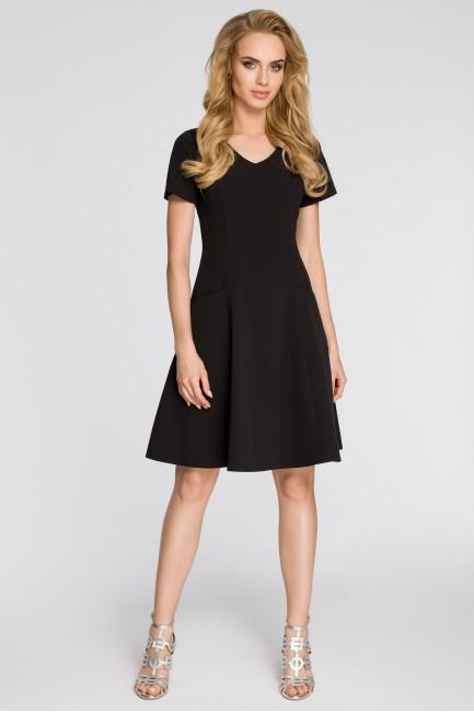 Dopasowana sukienka z rozkloszowanym dołem - czarna