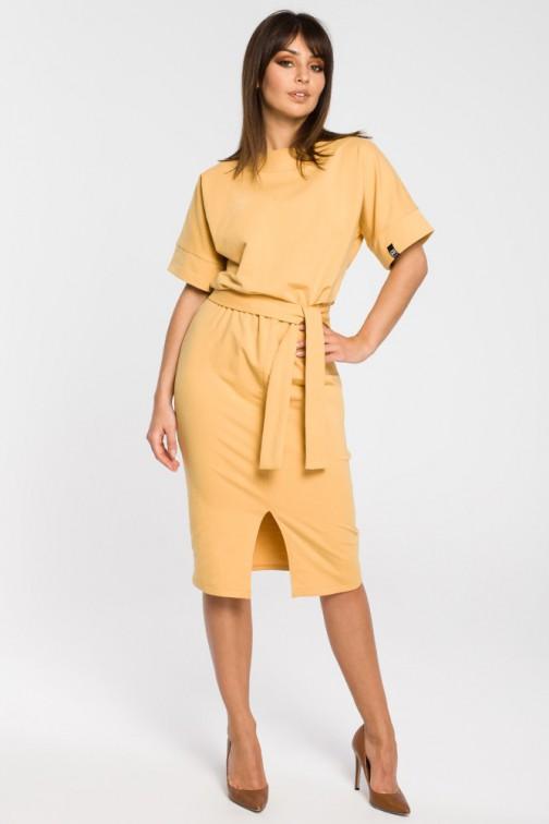 CM3445 Dzianinowa sukienka z rozcięciem - żółta