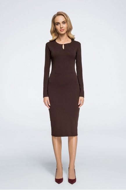 Sukienka z cięciami i opuszczonym ramieniem - brązowa