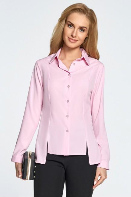 Koszula z cięciami z przodu - różowa
