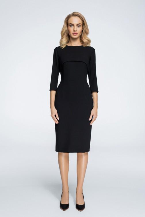 CM3055 Stylowa sukienka z bolerkiem - czarna