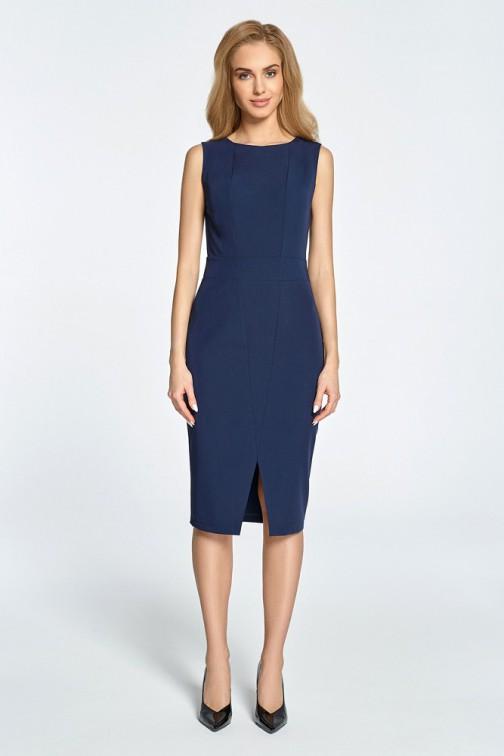 CM3451 Taliowana sukienka bez rękawów - granatowa
