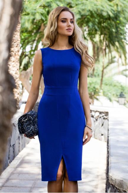Taliowana sukienka bez rękawów - chabrowa