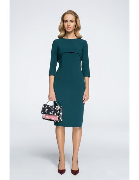Stylowa sukienka z bolerkiem - zielona