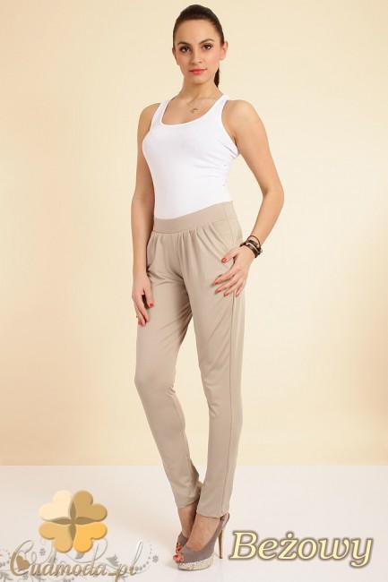 Włoskie spodnie pumpy legginsy - beżowe OUTLET