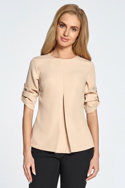 Trapezowa bluzka z kontrafałdą - beżowa
