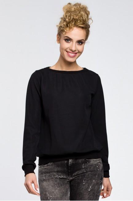Gładka elegancka bluza z długim rękawem - czarna