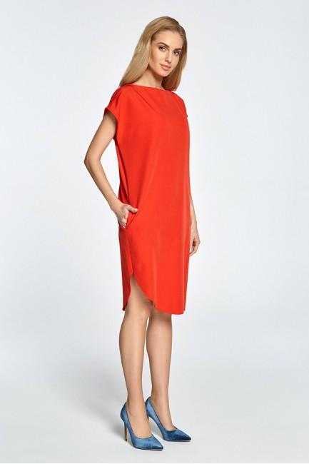 Prosta sukienka z rozcięciem na udo - czerwona
