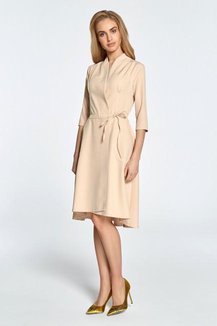Sukienka midi na zakładkę z tunelem - beżowa