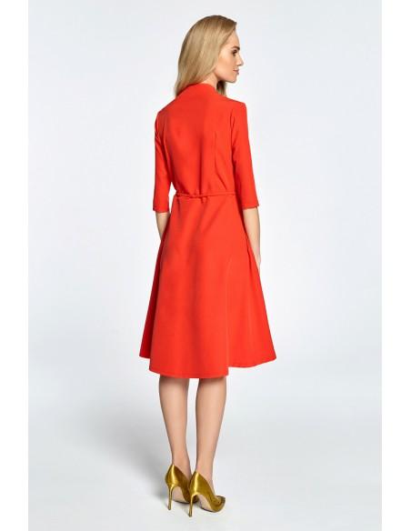 Sukienka midi na zakładkę z tunelem - czerwona