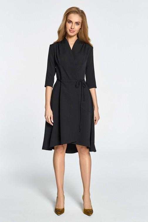 Sukienka midi na zakładkę z tunelem - czarna