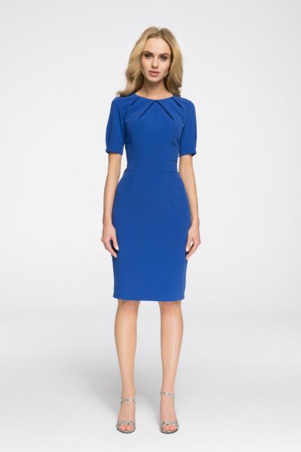 Biurowa sukienka ołówkowa z marszczeniami - chabrowa