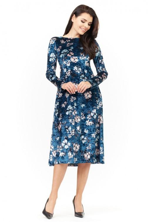 CM3485 Sukienka midi z długim rękawem - granatowa
