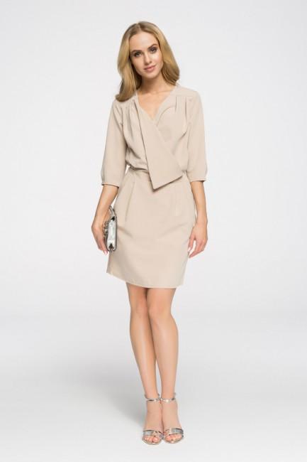 Kopertowa sukienka mini - beżowa