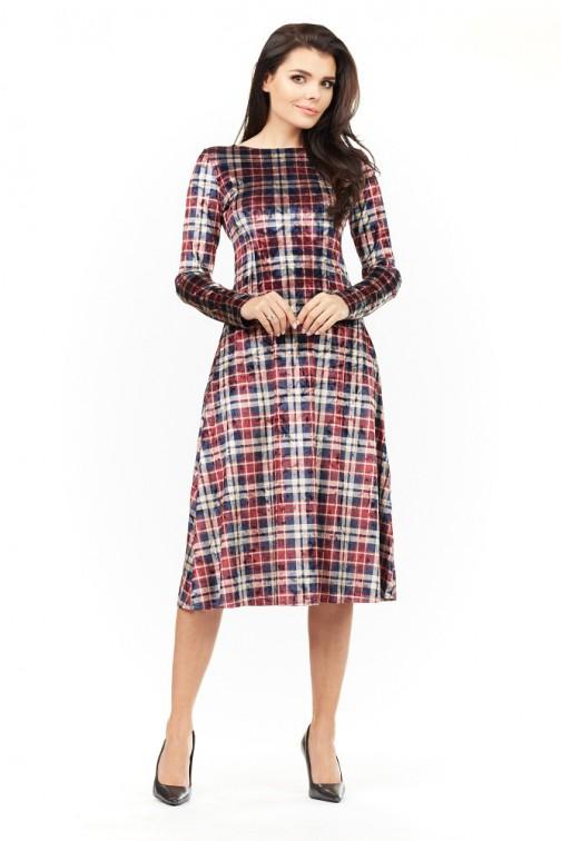 CM3485 Sukienka midi z długim rękawem - kratka