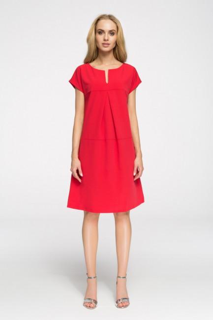 Stylowa sukienka o nowoczesnym kroju - czerwona