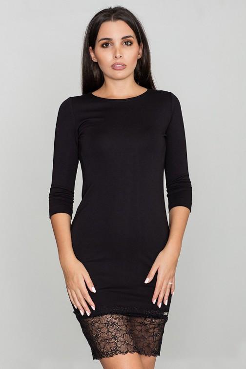 CM3466 Dopasowana sukienka z koronkowym dołem - czarna