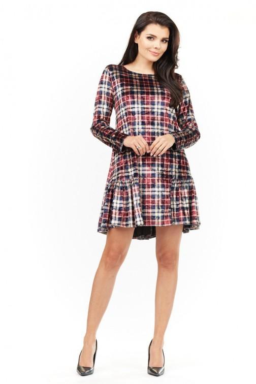 CM3486 Stylowa sukienka mini z falbanką - kratka