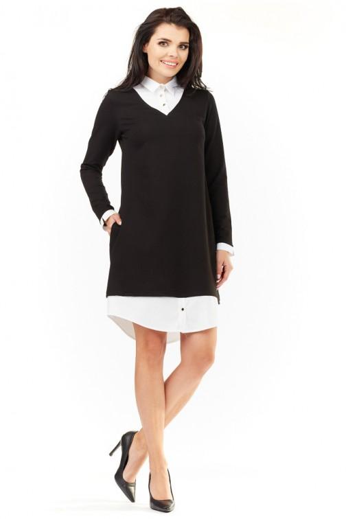 CM3487 Elegancka sukienka z kołnierzykiem - czarna