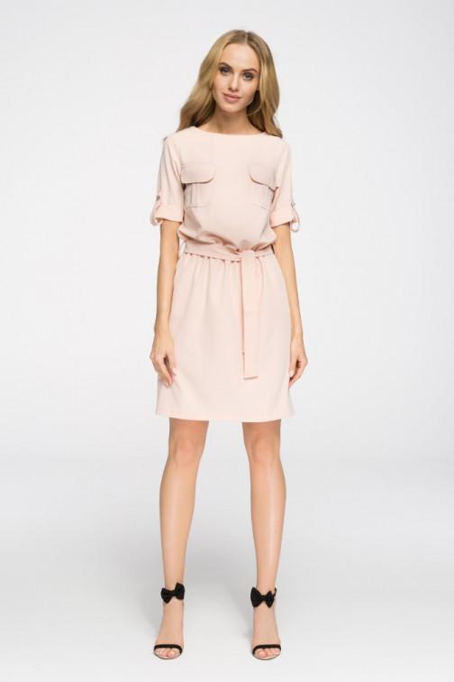 CM2678 Odcinana sukienka mini z kieszeniami - pudrowa