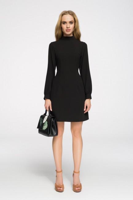Stylowa sukienka z długim rękawem - czarna