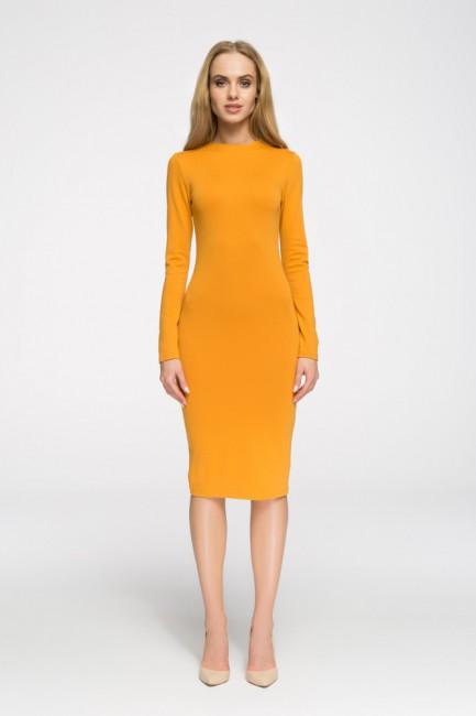 Wieczorowa sukienka z długim rękawem - żółta