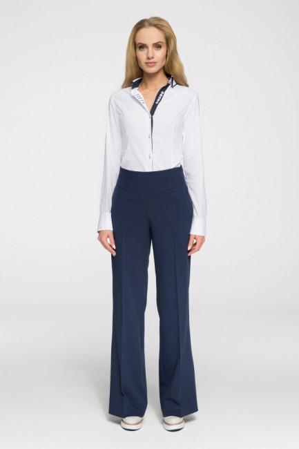 Eleganckie spodnie damskie w kant - granatowe