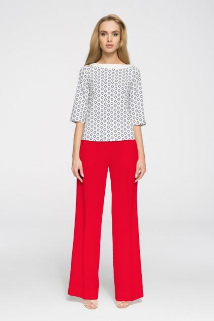Eleganckie spodnie damskie w kant - czerwone