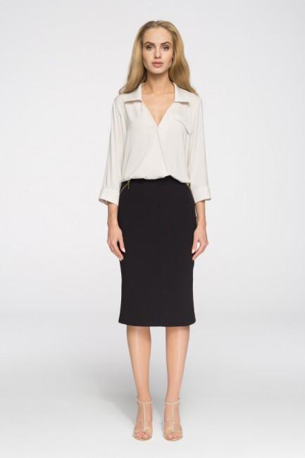 Biurowa spódniczka ze złotymi zamkami - czarna