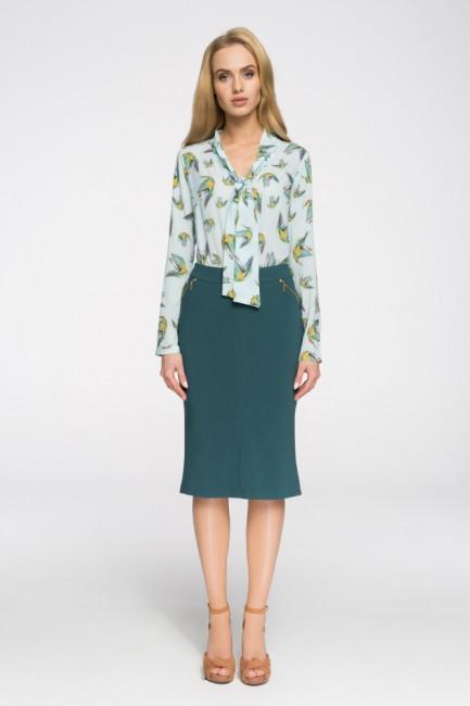 Biurowa spódniczka ze złotymi zamkami - zielona