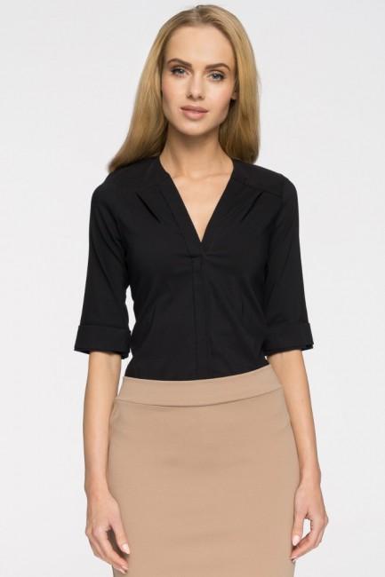 Gładka bluzka z głębokim dekoltem - czarna