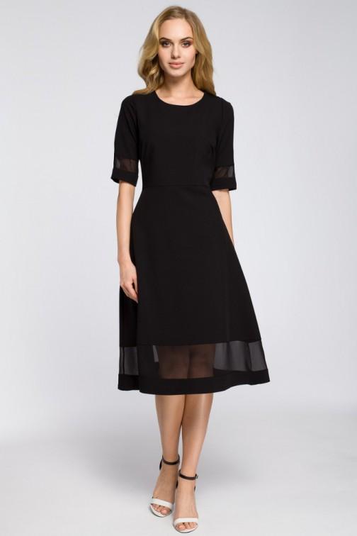 CM2622 Szyfonowa sukienka wieczorowa - czarna