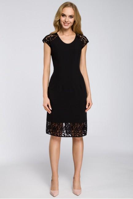 Prosta sukienka z koronkowymi wstawkami - czarna