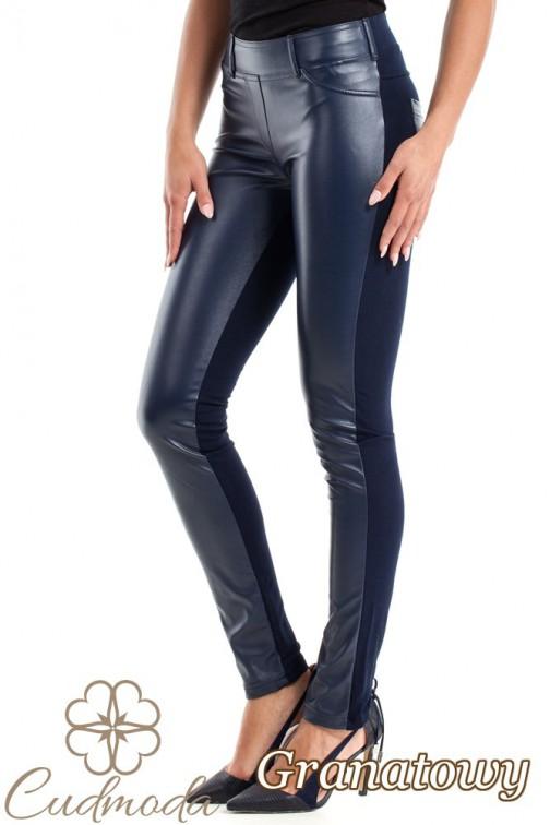 Spodnie legginsy przód matowa skóra - granatowe