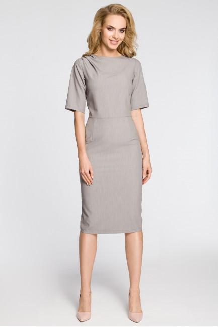 Dopasowana sukienka ołówkowa za kolano - szara