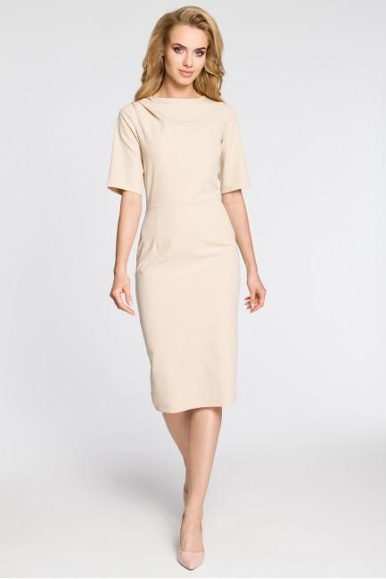 Dopasowana sukienka ołówkowa za kolano - beżowa