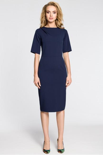 Dopasowana sukienka ołówkowa za kolano - granatowa