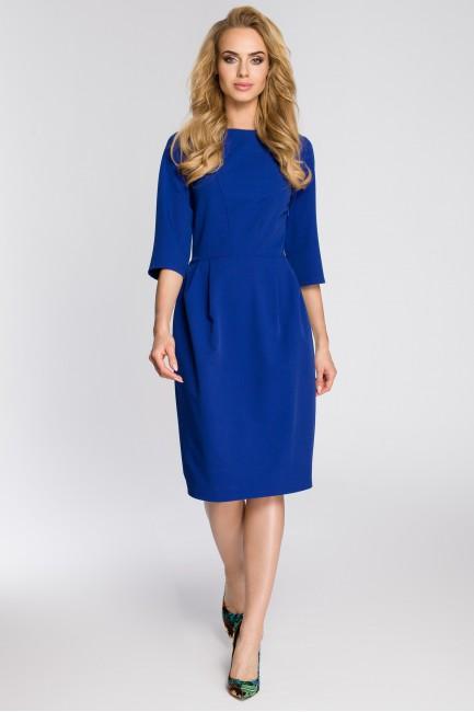 Ołówkowa sukienka z zakładkami - chabrowa