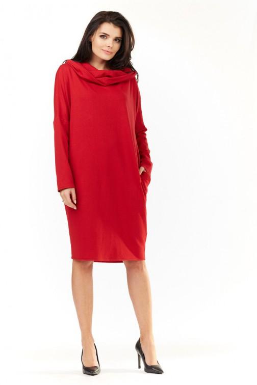 CM3489 Luźna sukienka z kieszeniami i kapturem - czerwona
