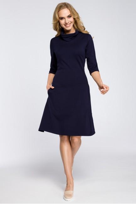 Zwiewna rozkloszowana sukienka midi - granatowa