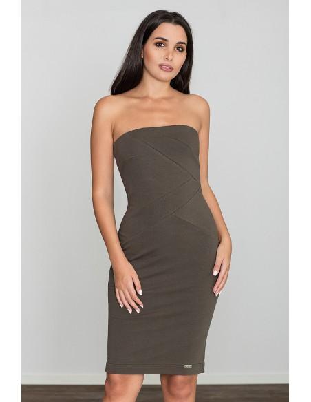 Dopasowana bawełniana sukienka - oliwkowa