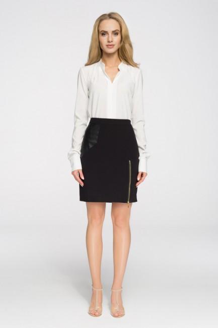 Ołówkowa spódniczka mini z zamkiem - czarna