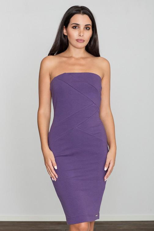 CM3470 Dopasowana bawełniana sukienka - fioletowa