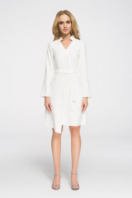 Przewiązana sukienka z długim rękawem - ecru