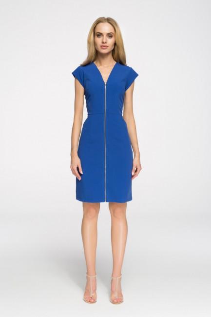 Prosta taliowana sukienka z zamkiem - chabrowa