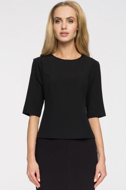 Elegancka gładka bluzka - czarna